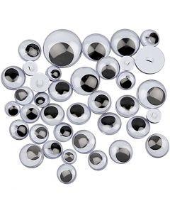 Occhi mobili, da cucire, diam: 8-20 mm, 24 asst./ 1 conf.