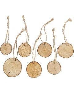 Fette di legno con foro, diam: 35-45 mm, spess. 7 mm, 7 pz/ 1 conf.