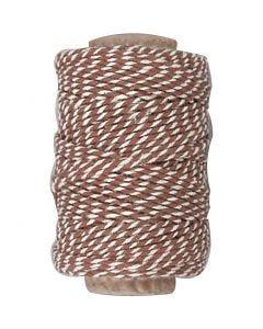 Cordino in cotone, spess. 1,1 mm, marrone/bianco, 50 m/ 1 rot.