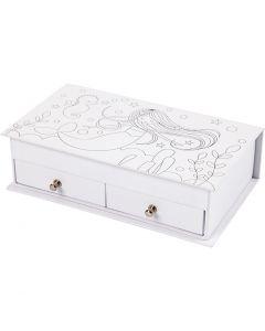Scatola per gioielli, H: 5 cm, misura 18x10,5 cm, bianco, 1 pz