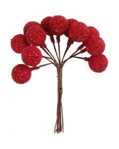 Bacche artificiali, diam: 15 mm, rosso natalizio, 12 pz/ 1 conf.