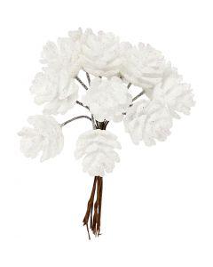 Pigne artificiali, diam: 20 mm, bianco, 12 pz/ 1 conf.