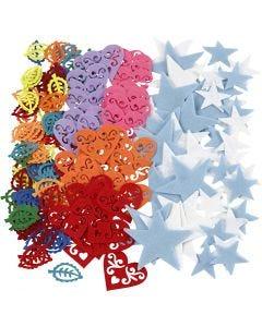 Feltro sagomato, misura 40-60 mm, il contenuto può variare , colori asst., 180 pz/ 1 conf.