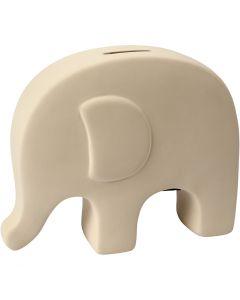 Elefante salvadanaio, H: 14 cm, L: 16,7 cm, bianco, 8 pz/ 1 scat.
