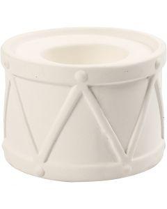 Portacandele, H: 6,6 cm, diam: 9,3 cm, misura buco 2,2+4 cm, bianco, 2 pz/ 1 conf.
