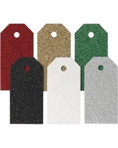 Etichette regalo, misura 5x10 cm, 300 g, colori asst., 6x15 pz/ 1 conf.