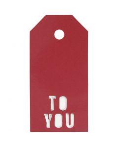 Etichette regalo, TO YOU, misura 5x10 cm, 300 g, rosso, 15 pz/ 1 conf.