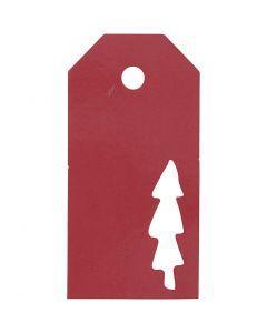 Etichette regalo, Albero di Natale, misura 5x10 cm, 300 g, rosso, 15 pz/ 1 conf.