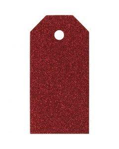 Etichette regalo, misura 5x10 cm, 300 g, rosso, 15 pz/ 1 conf.