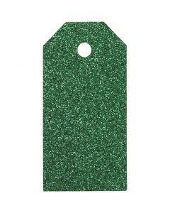 Etichette regalo, misura 5x10 cm, glitter, 300 g, verde, 15 pz/ 1 conf.