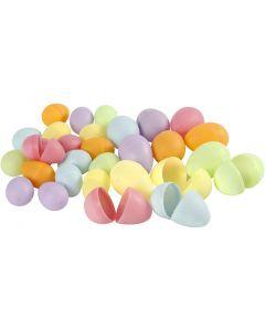 Uova, H: 4,5+6 cm, diam: 3+4  cm, colori pastello, 720 pz/ 1 conf.