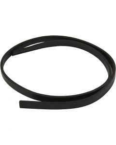 Cintura di finto cuoio, L: 10 mm, spess. 3 mm, nero, 1 m/ 1 conf.