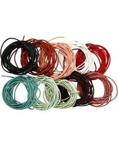 Corda di cuoio, spess. 2 mm, colori asst., 10x3 m/ 1 conf.