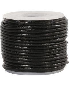 Corda di cuoio, spess. 1 mm, nero, 10 m/ 1 rot.