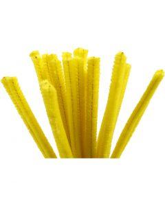 Filo di ciniglia, L: 30 cm, spess. 9 mm, giallo, 25 pz/ 1 conf.