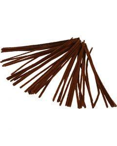 Filo di ciniglia, L: 30 cm, spess. 6 mm, marrone, 50 pz/ 1 conf.
