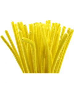 Filo di ciniglia, L: 30 cm, spess. 6 mm, giallo, 50 pz/ 1 conf.