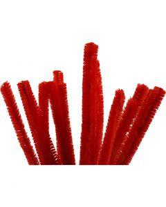 Filo di ciniglia, L: 30 cm, spess. 15 mm, rosso, 15 pz/ 1 conf.