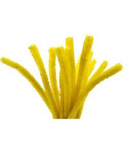 Filo di ciniglia, L: 30 cm, spess. 15 mm, giallo, 15 pz/ 1 conf.