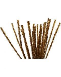 Filo di ciniglia, L: 30 cm, spess. 6 mm, glitter, oro, 24 pz/ 1 conf.