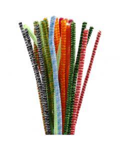 Filo di ciniglia, L: 30 cm, spess. 6 mm, colori asst., 30 asst./ 1 conf.