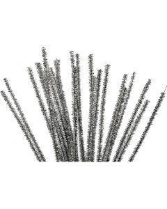 Filo di ciniglia, L: 30 cm, spess. 6 mm, glitter, argento, 24 pz/ 1 conf.