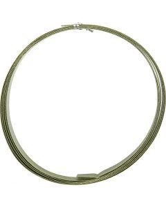 Filo di alluminio, piatto, L: 15 mm, spess. 0,5 mm, verde, 2 m/ 1 rot.