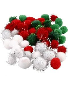 Pompom, diam: 15+20 mm, verde, rosso, bianco, 48 asst./ 1 conf.