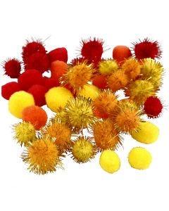 Pompom, diam: 15+20 mm, arancio, rosso, giallo, 48 asst./ 1 conf.