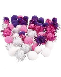 Pompom, diam: 15+20 mm, viola, rosso chiaro, bianco, 48 asst./ 1 conf.