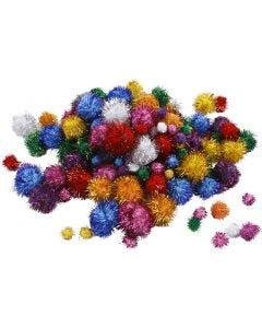 Pom-pom glitter, diam: 15-40 mm, glitter, colori forti, 62 g/ 1 conf.