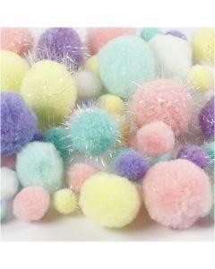 Pom pom, diam: 15-40 mm, glitter, colori pastello, 62 g/ 1 conf.
