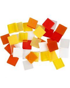 Mini mosaico, misura 10x10 mm, armonia rosso/arancio, 25 g/ 1 conf.
