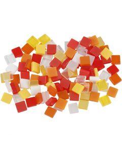 Mini mosaico, misura 5x5 mm, armonia rosso/arancio, 25 g/ 1 conf.
