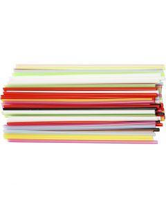 Cannucce per creazioni, L: 12,5 cm, diam: 3 mm, colori asst., 3200 pz/ 1 conf.