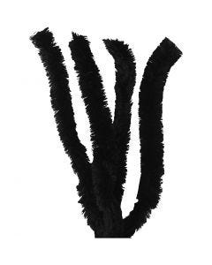 Filo di ciniglia, L: 40 cm, spess. 30 mm, nero, 4 pz/ 1 conf.