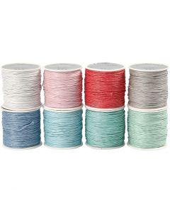Laccio di cotone, spess. 1 mm, colori asst., 8x40 m/ 1 conf.