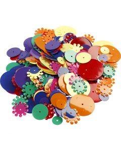 Lustrini, rotondi, misura 10-25 mm, colori asst., 35 g/ 1 conf.