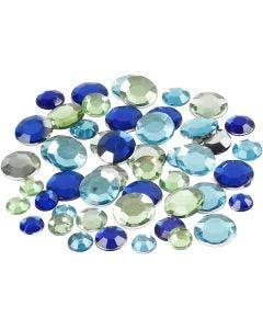 Strass, rotondo, misura 6+9+12 mm, armonia blu/verde, 360 pz/ 1 conf.