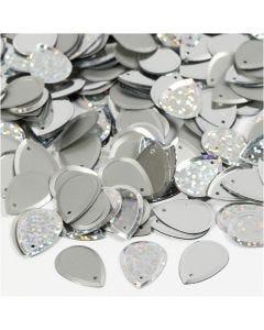Lustrini, goccia, misura 14x19 mm, argento, 50 g/ 1 conf.