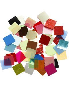 Tessere sottili per mosaico, misura 10x10 mm, colori asst., 250 g/ 1 conf.