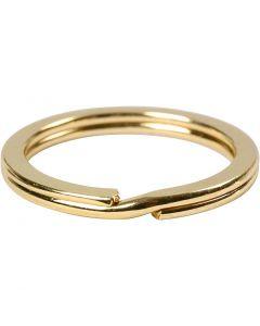 Anelli portachiavi, diam: 28 mm, placcato oro, 50 pz/ 1 conf.