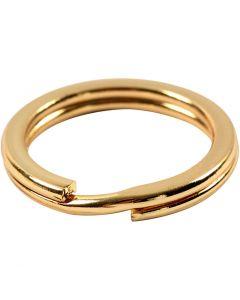 Anello portachiavi, diam: 15 mm, placcato oro, 15 pz/ 1 conf.