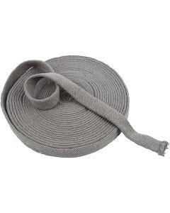 Tubolare di maglia, L: 22 mm, grigio, 10 m/ 1 rot.