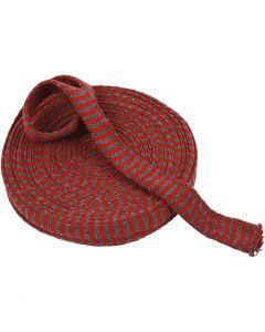Tubolare di maglia, L: 30 mm, rosso natalizio/verde, 10 m/ 1 rot.