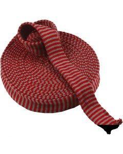 Tubolare di maglia, L: 40 mm, rosso natalizio/verde, 10 m/ 1 rot.