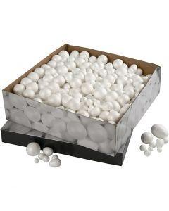 Sfere e uova di polistirolo, misura 1,5-6,1 cm, bianco, 550 pz/ 1 conf.