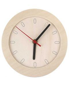Orologio con cornice in legno, diam: 15 cm, 1 pz