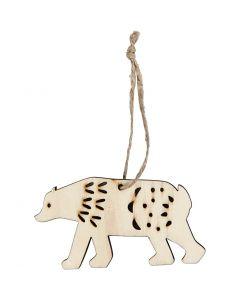 Ornamento, orso polare, H: 4,5 cm, P 0,5 cm, L: 7,5 cm, 4 pz/ 1 conf.