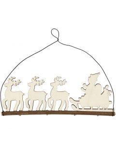 Decoro natalizio, slitta con renne, H: 8 cm, P 0,5 cm, L: 22 cm, 1 pz